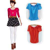Free Shipping 2012 women's slim short-sleeve T-shirt female shoulder flower 31800 High Quality