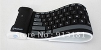 20pcs  Wireless bluetooth keyboard Waterproof silicone Flexible for iPad/iPad2 Black hot sale free by DHL