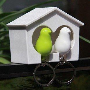 Couple Bird House Keychain Holder Whistle Key Ring Plug Gift/lovers keychain 2 birds per set