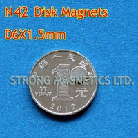 N42, D6X1.5mm, 1pcs/lot, 1 pcs as a pack, Disk  , Neodymium  permanent magnets