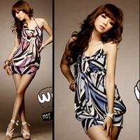 Summer e 7163 geometric figure volvulus slim hip spaghetti strap dress vest 240