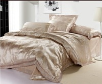120413    free shipping  Luxurious silk 4pc bedding set/bed sheet/ quilt/ comforter set