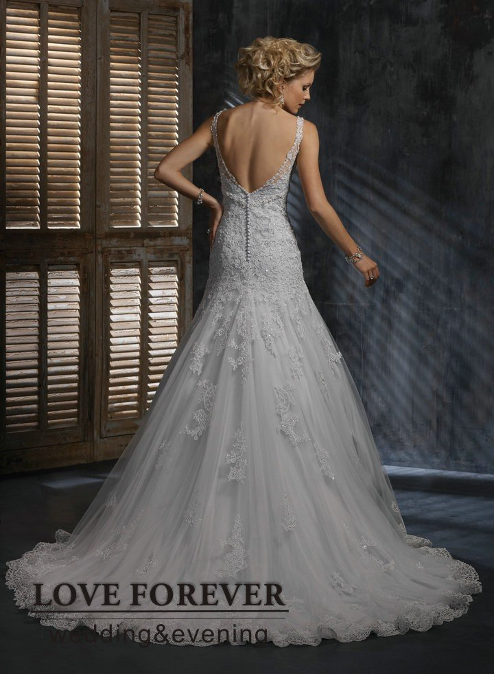 Lace Wedding Dress With Cap Sleeves And Open Back 15