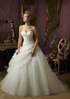 Euro Type Ballgown Sweetheart Floor Length Sleeveless Beaded Lace Up Organza Royal Wedding Dress