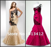 Best Selling One Shoulder Golden Lace Sexy Mermaid Prom Dress Evening Gown 2012 Free Shipping