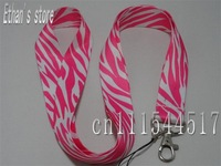 Brand New Pink Zebra Stripe key lanyard for ID,Badge Mp3 holders +Free shipping