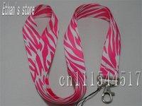 Brand New Pink Zebra Stripe key lanyard for ID,Badge Mp3 holders +Free shipping