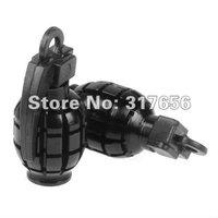 Free Ship,4 pcs/lot, Black Metal Grenade Bike Car Motors Motorcycle Tire Tyre Air Valve Dust Cap Cover