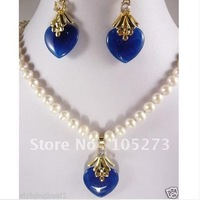 Charming! New Style White Color Genuine Freshwater Pearl & Blue Jade Heart Shaper Necklace earring Jewelry Set New Free Shipping