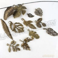 Promotion 72pcs/lot New Style Mixed 12 Leaves Pendant Charms Antique Bronze Plated Pendant Fit Jewelry Diy Free Shipping 142740