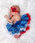 Newborn Baby Satin Pettiskirt / Tutu / Party Skirt / Photo Props - Blue Star White Red(Hong Kong)