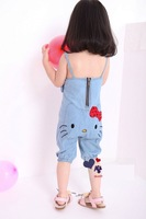FREE SHIPPING hot kid's Girls children autumn spring Hello Kitty blue jeans jumper overall 2-7 years 5 pieces in 1 lot