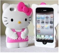 Free shipping for NEW 3D Cute Red Soft Silicone Hello Kitty Case Cover Skin For iPhone4 4G 4S hot! also for Iphone 5