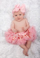 2 Pieces Set: Newborn Baby Red Heart Light Pink Ruffles Pettiskirt / TuTu / Skirt & Bow Headband