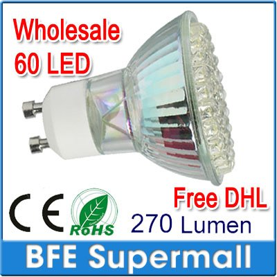 40 PCS/LOT GU10 60/3W LED Spot Light Bulbs Lamp Day/Warm White High Power Energy Saving[60 LED,Warm White] FREE China Air Post(China (Mainland))