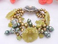 Beautiful! 3Strds Pearl&amp;Olive Jade Bracelet