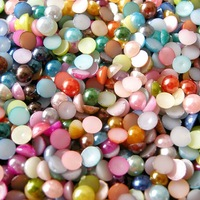 16mm,800pcs/lot,half pearls Embellishments flat round back imitation plastic mixed colour pearls Applique Sewing,Free shipping!