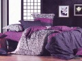 Hot Beautiful 4PC 100% COTTON COMFORTER DUVET DOONA COVER SET QUEEN / KING SIZE bedding set  4pcs Green Blooming purple
