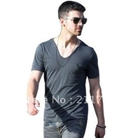 All saints heart-shaped collar solid color V-neck male slim short-sleeve T-shirt plus size fashion