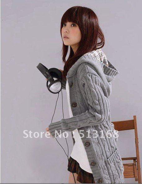 Женский кардиган Winter Fashion Women's Cardigan Sweater Long Sleeve Hoodie coat trench Black/beige/Gray