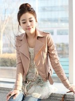 Free shipping  discount New Women's Zipper PU Leather Jacket Lady Coat Outerwear LM235