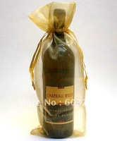 Free Hong Kong Post 200 Pieces 14*36cm Gold Wine Bottle Organza Bags Wedding Party Christmas Candy Gift Bags