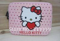 Free Shipping for Fashion cartoon hello kitty handbag soft 10.2 inch tablet case for ipad 2/3 samsung