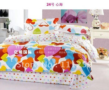 beautiful floral pattern printing duvet quilt covers sets 4pc for girls Full/Queen comforter bedding sets 4pc bedlinen