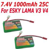 2 X 7.4V 1000mAh 2S 20C 25C AKKU Li-Po Battery for Walkera E-Sky Lama V3 V4 heli