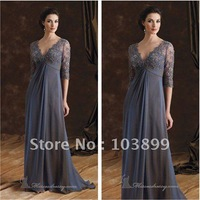 Fresh Looking A-line V-neck Half Sleeves Floor Length Gray Chiffon Mother of the Bride Dresses