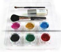 Товары для макияжа глаз 6pcs - Glitter Tattoo Powder for Body Art -Temporary Tattoo/ body painting Kit -w/ Brushes/Glue/Stencils