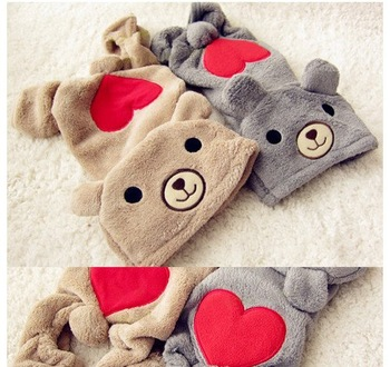 2 Colors LOVE U RED Heart BEAR Warm Thick Fleece DOG Clothes JUMPSUIT XS,S,M,L,XL