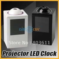 New Digital LED Laser Time Projector Projection LCD Alarm Clock Rotating Black/White free shipping
