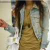Free shipping Hot-selling 2013 fashion vintage short design denim coat long-sleeve jacket jean jacket female
