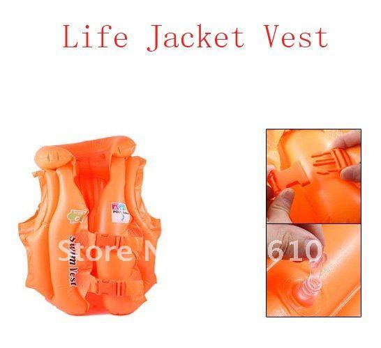 Orange Inflatable Buckle Closure Water Sports Swimming Life Jacket Vest(China (Mainland))