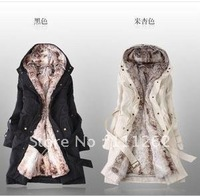 free shipping Women's warm woolly bravery coat can be unpick and wash