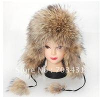 Wholesale/retail ladies fur hats,ladies genuine racoon fur hats/fur cap,women's warm racoon fur hood hats,free shipping,ID:H06