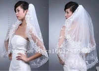 Exempt postage 2012 new double wedding the bridal veil combs with lacy promotion price wholesale/retail