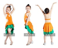 kid braces Latin perform dress/skirt 3~13T cheap baby girl One-Piece dancewear child stage dance costume