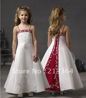 Free shipping 2012 NEW Hot Sale sweet cute Imported Satin High Quality Flower Girl dress Custom any color size wholesale/retail