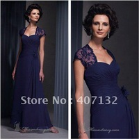 Romantic Empire Square Neck Blue Embroidered Chiffon Full Length Mother of the Bride Evening Dresses