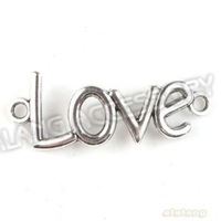 Wholesale 60pcs/lot New LOVE Connector Antique Silver Plated Pendant Alloy Charms Pendant Fit Jewelry Diy Free Shipping 142670