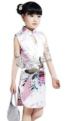 2012 Chinese traditional kids dress/ childrens cheongsam imitation silk peacock style dress free shipping(China (Mainland))