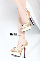 Free shipping!rhinestone buckle high heel shoes for women/elegant party shoes