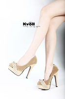 Free shipping!2012 summer women flock high heel shoes/rivets party shoes