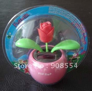 15pcs per lot  Free shipping via China Post Air Mail  no battery no water solar   flower  car decoration