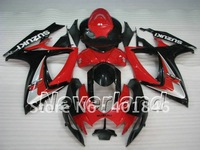 Hot sale! red/black body work for GSX-R600 R750 06 07 fairing kit SUZUKI GSXR600 750 2006 2007 motorcycle racing ABS fairings