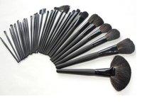 Free shipping!32 pcs Professional Makeup Brushes Cosmetic Set + Black Leather Bag