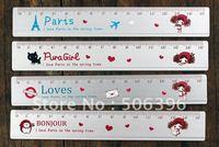 Free Shipping fashion gift cute Pura girl 15CM alloy straight ruler 72pcs/lot Stationery Wholesale I07