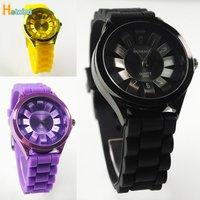 2013 Hot Sell Free shipping Jelly silicone watch Chrysanthemum quartz wrist watch 20pcs/Lot